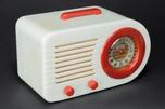 "FADA 1000 ""Bullet"" Catalin Radio in Alabaster + Red - Great"